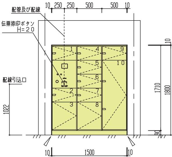外形の寸法はW1,500mm×D600mm×H1,800mm